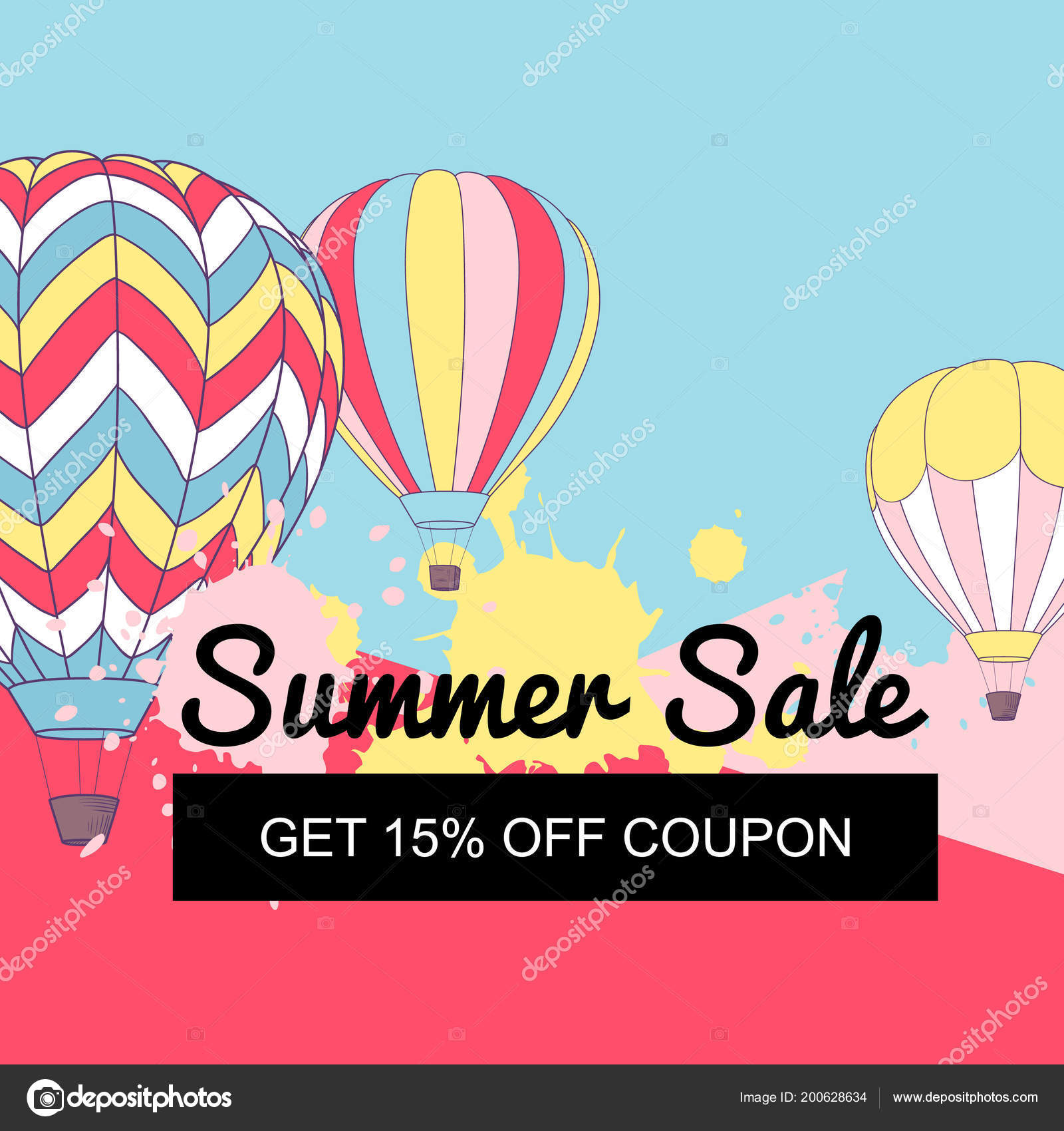 Vector Illustration Summer Sale Banner Design Retro Hot Air Balloons