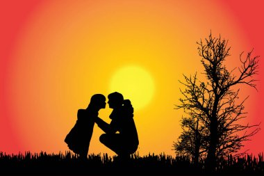 Vector silhouette of a family in the countryside at sunset.