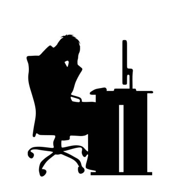 Vector silhouette of man at work on white background.