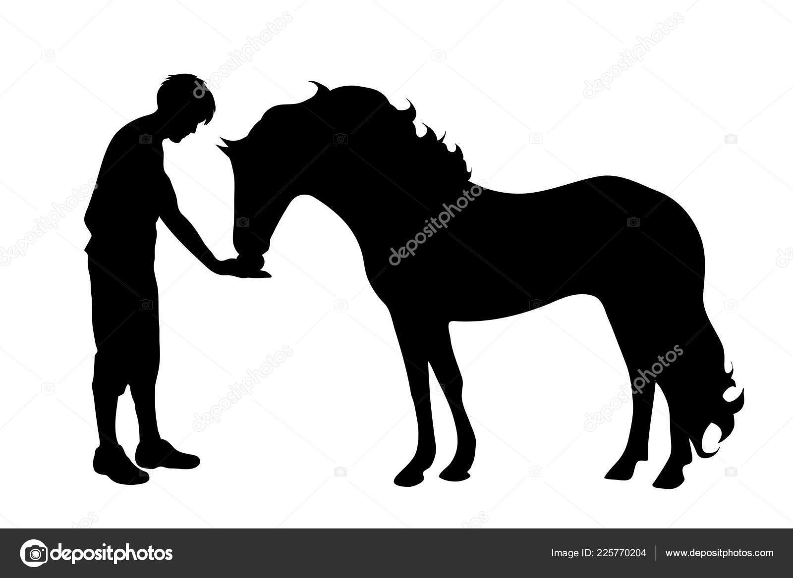 Vector Silhouette Man Horse White Background Stock Vector C Majivecka 225770204