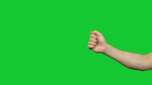 Male horns gesture on green background