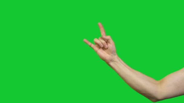 Male set of gestures on green background