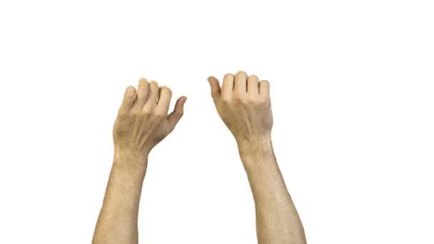 Férfi kezét a fehér háttér