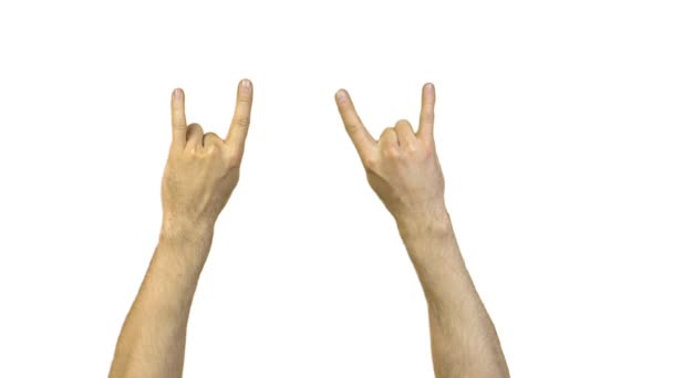Male goat gesture on white background