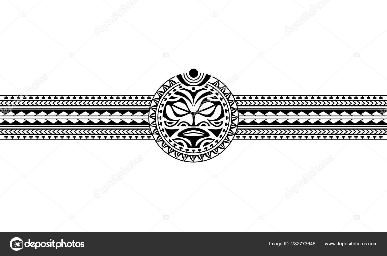 Maori polynesian tattoo border tribal sleeve pattern vector