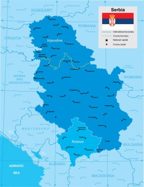 vector map of Serbia