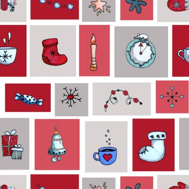 Seamless pattern of squares, patchwork, Christmas elements, decor of New Years packaging, wallpapers. Hand-drawn watercolor illustration with felt boots, snowflakes, candle, garland, rat, mouse.