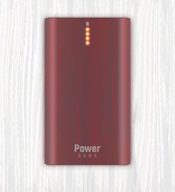 realistic power bank on white wooden background
