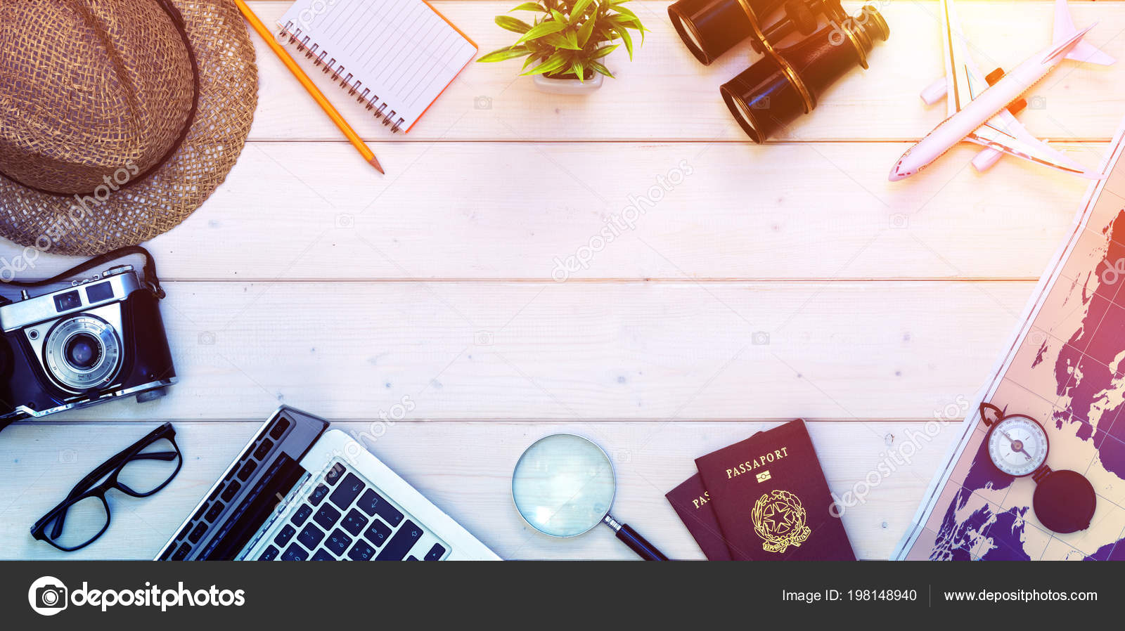 Planification préparation pour vacances voyage passeports objets