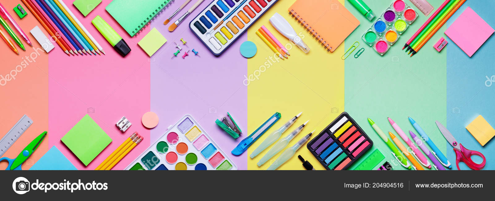 School Supplies Colorful Paper Background Education Banner Stock Photo C Rfphoto 204904516