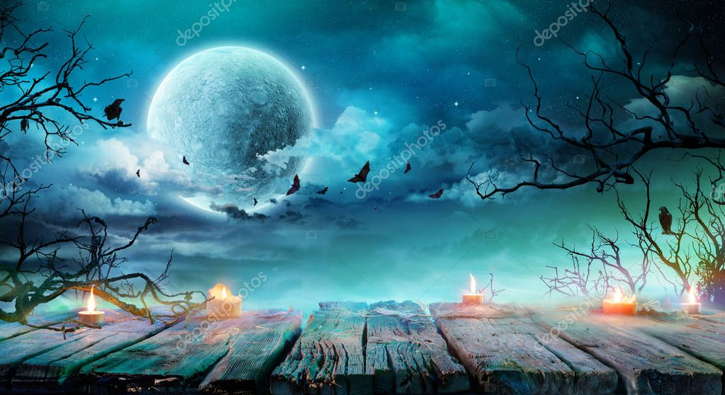 Фотообои Halloween Background - Old Table With Candles And Branches At Spooky Night With Full Moon