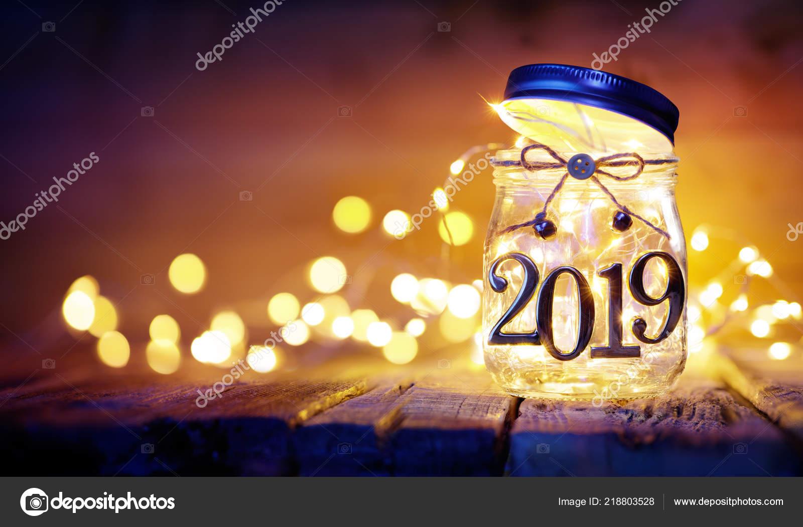 Open 2019 Kerstverlichting Jar Wazig Achtergrond Stockfoto