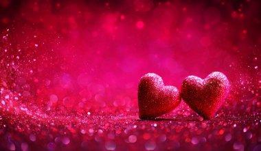 İki kırmızı kalp içinde parlak geçmiş - Sevgililer günü