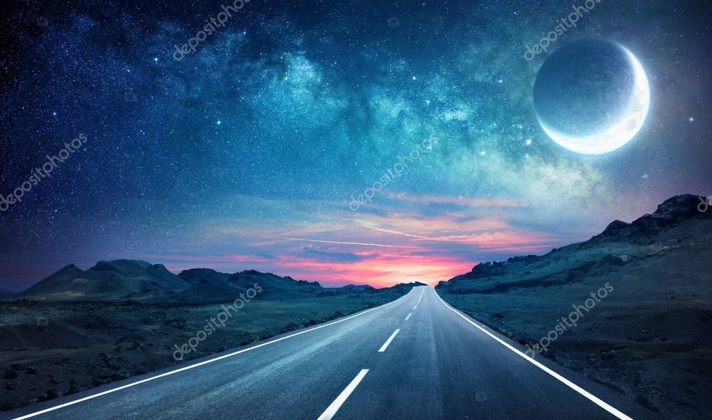 Фотообои Road In Night - With Half Moon And Milky Way