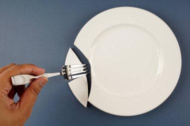 white porcelain broken plate, person using fork