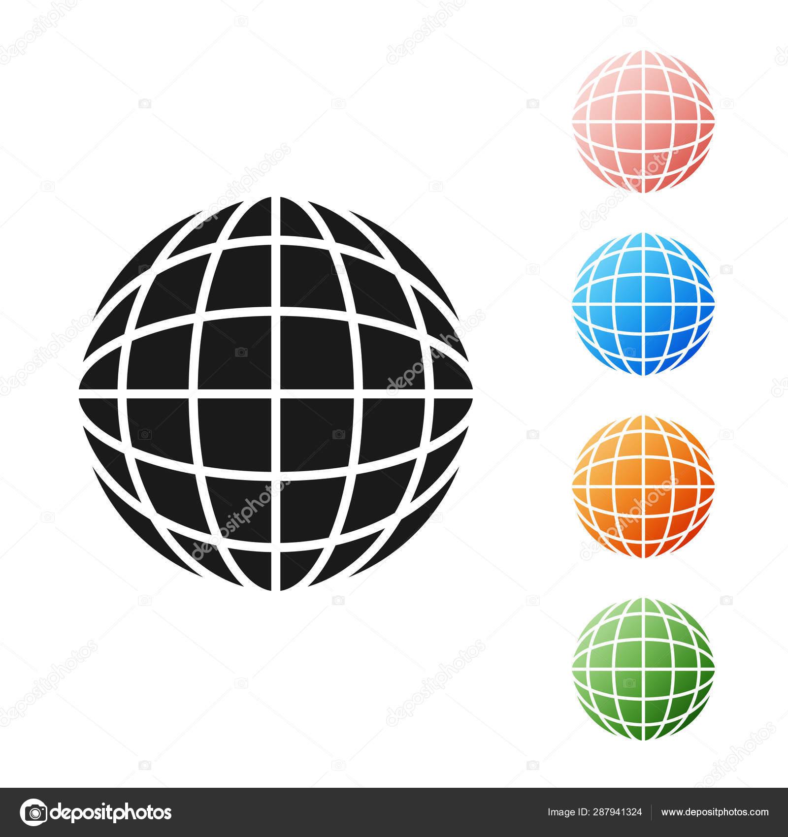 Black Earth globe icon isolated on white background  World