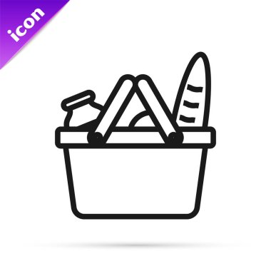 Black line Shopping basket and food icon isolated on white background. Food store, supermarket. Vector Illustration