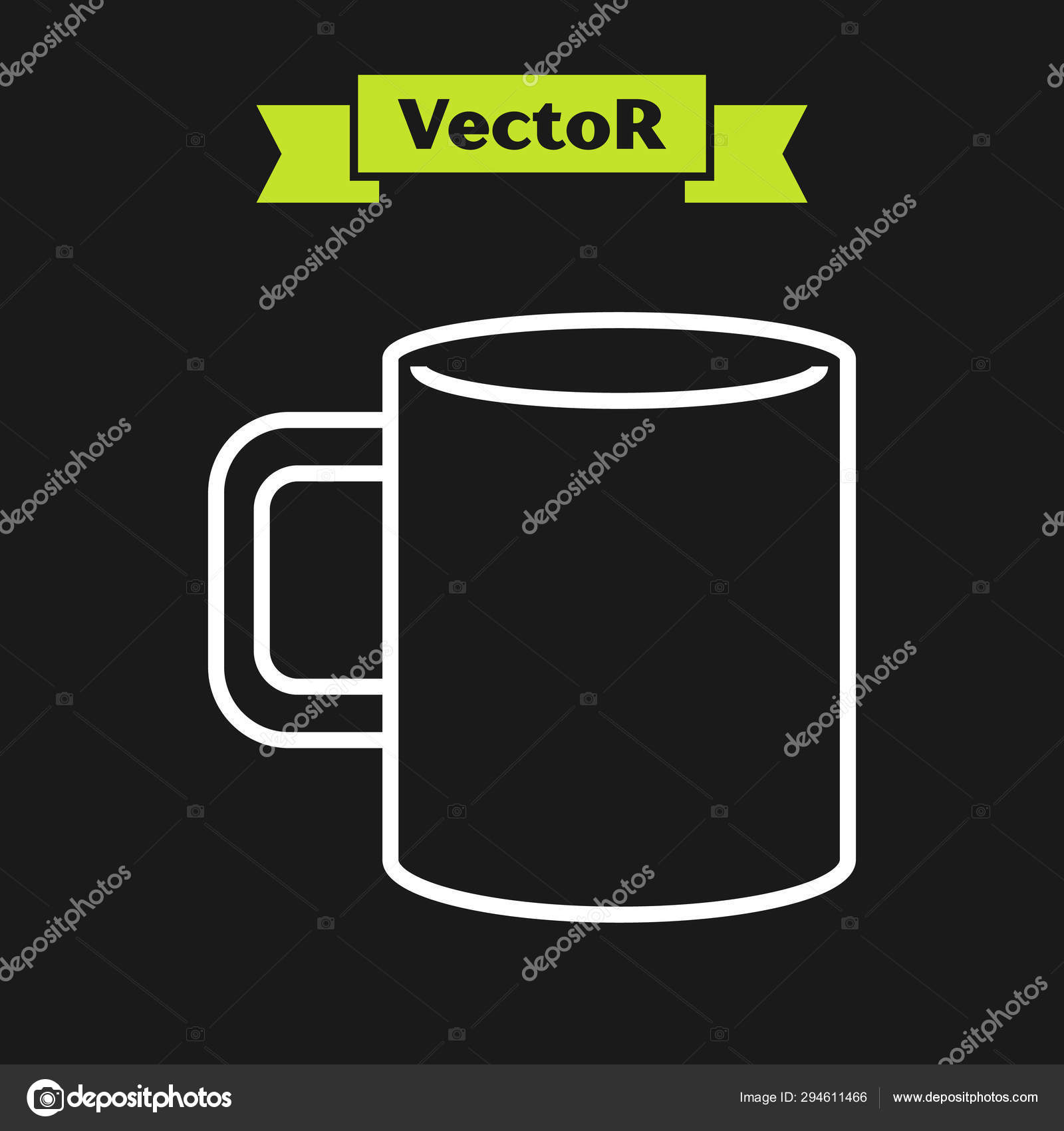 white line coffee cup flat icon isolated on black background tea cup hot drink coffee vector illustration stock vector c vectoroksana 294611466 https depositphotos com 294611466 stock illustration white line coffee cup flat html