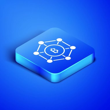 Isometric Blockchain technology Bitcoin icon isolated on blue background. Abstract geometric block chain network technology business. Blue square button. Vector Illustration