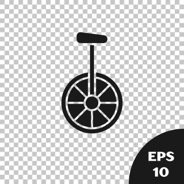 Black Unicycle or one wheel bicycle icon isolated on transparent background. Monowheel bicycle. Vector Illustration