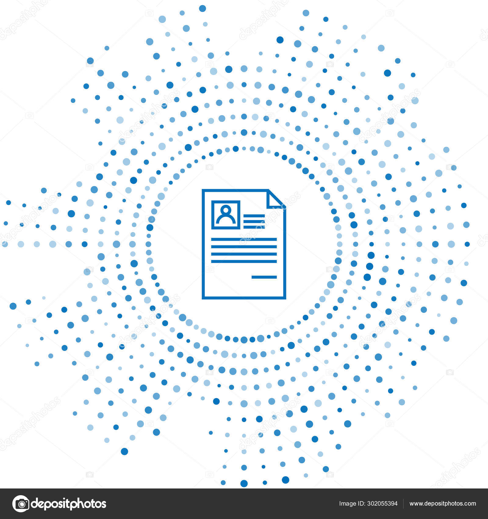 Blue Line Resume Icon Isolated On White Background Cv Application