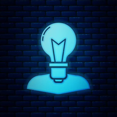 Glowing neon Human head with lamp bulb icon isolated on brick wall background. Vector Illustration
