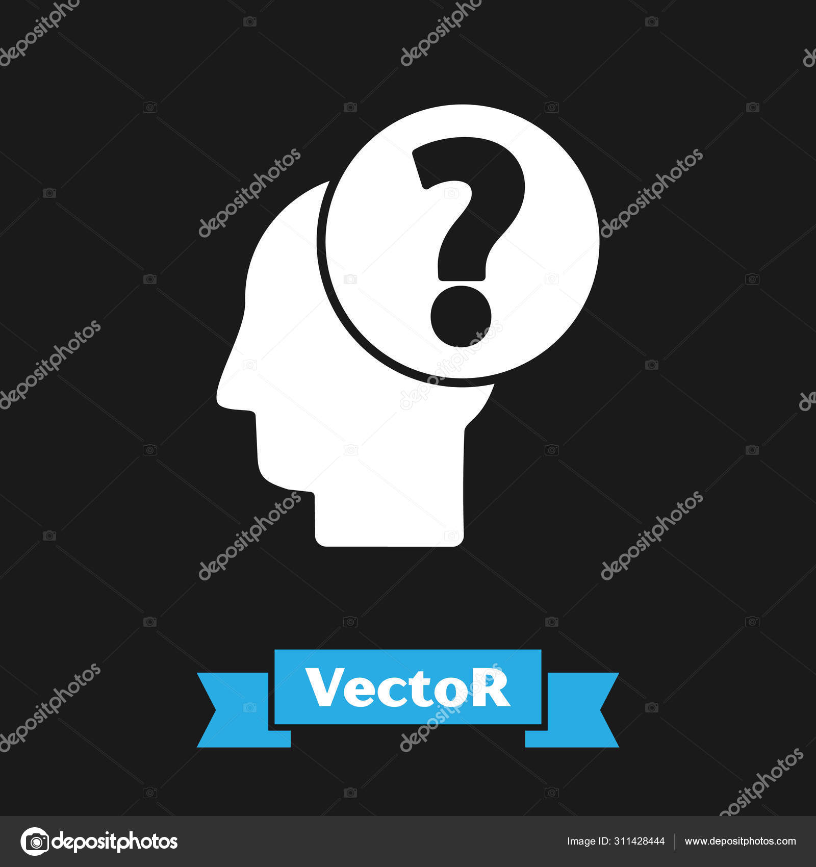 White Human Head With Question Mark Icon Isolated On Black Background Vector Illustration Stock Vector C Vectoroksana 311428444 Male signage, computer icons scalable graphics desktop , girl, human, lady, male, man, nick, nickname, patient, people, person transparent background png clipart. https depositphotos com 311428444 stock illustration white human head with question html
