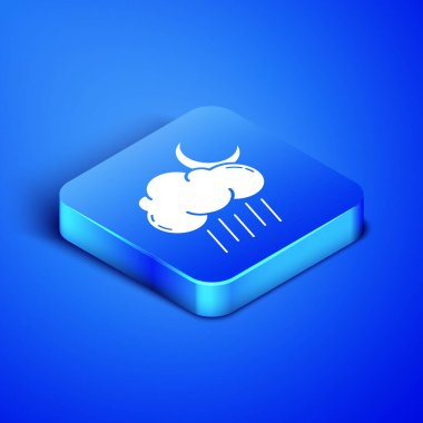 Isometric Cloud with rain and moon icon isolated on blue background. Rain cloud precipitation with rain drops. Blue square button. Vector Illustration