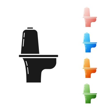 Black Toilet bowl icon isolated on white background. Set icons colorful. Vector Illustration