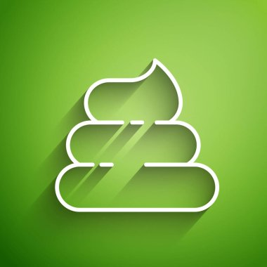 White line Shit icon isolated on green background. Vector Illustration