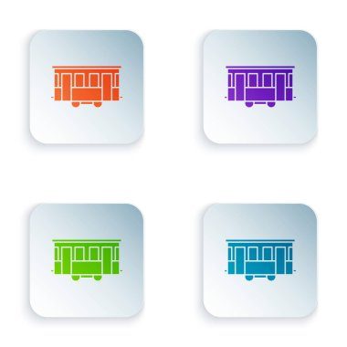Color Old city tram icon isolated on white background. Public transportation symbol. Set icons in colorful square buttons. Vector Illustration