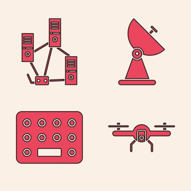 Set Drone flying, Computer network, Radar and Pills in blister pack icon. Vector icon