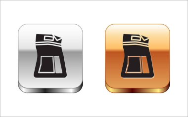 Black Cement bag icon isolated on white background. Silver-gold square button. Vector Illustration icon