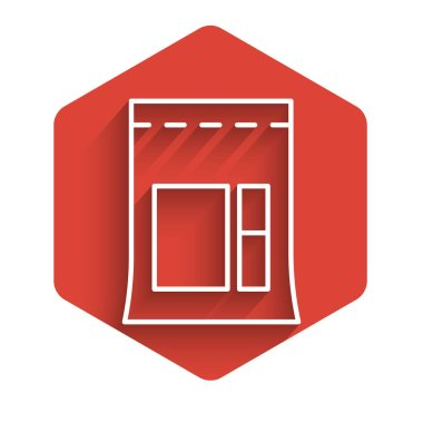 White line Cement bag icon isolated with long shadow. Red hexagon button. Vector Illustration icon