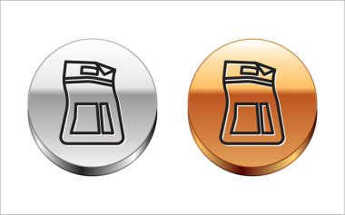 Black line Cement bag icon isolated on white background. Silver-gold circle button. Vector Illustration icon