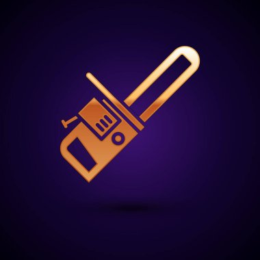 Gold Chainsaw icon isolated on black background.  Vector Illustration.