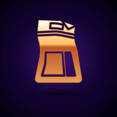 Gold Cement bag icon isolated on black background.  Vector Illustration. icon