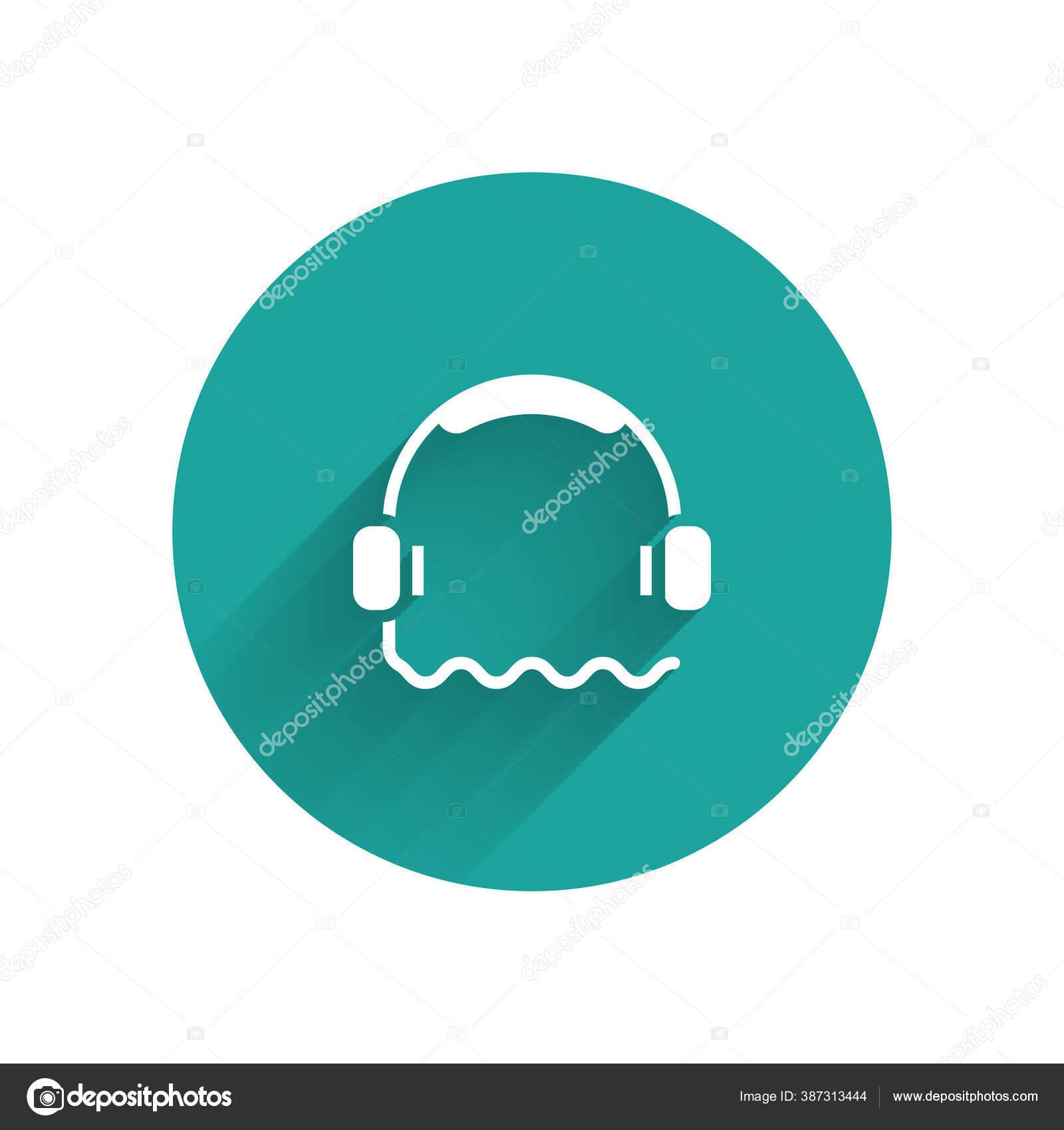 Weiße Kopfhörer Ikone Isoliert Mit Langem Schatten Support ...