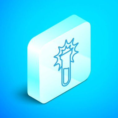 Isometric line Test tube and flask icon isolated on blue background. Chemical laboratory test. Laboratory glassware. Silver square button. Vector.