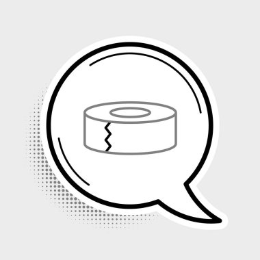 Line Scotch icon isolated on grey background. Roll of adhesive tape for work and repair. Sticky packing tape. Office tool and stuff. Colorful outline concept. Vector. icon
