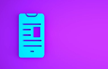 Blue Online book on mobile icon isolated on purple background. Internet education concept, e-learning resources. Minimalism concept. 3d illustration 3D render