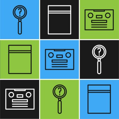 Set line Magnifying glass with search, Retro audio cassette tape and Plastic bag with ziplock icon. Vector. icon
