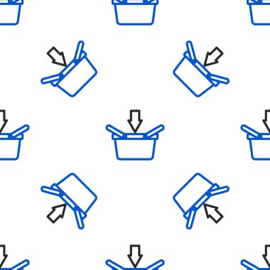 Line Shopping basket icon isolated seamless pattern on white background. Online buying concept. Delivery service sign. Shopping cart symbol. Colorful outline concept. Vector.