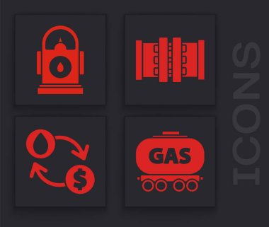 Set Gas railway cistern, Petrol or Gas station, Industry metallic pipes and valve and Oil exchange, water transfer, convert icon. Vector