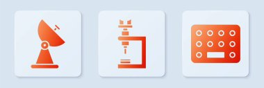 Set Microscope, Radar and Pills in blister pack. White square button. Vector. icon