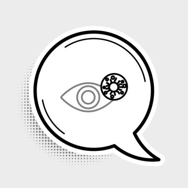Line Reddish eye due to virus, bacterial or allergic conjunctivitis icon isolated on grey background. Colorful outline concept. Vector.