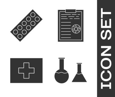 Set Test tube and flask, Pills in blister pack, First aid kit and Clipboard with blood test results icon. Vector. icon