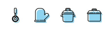 Set line Cooking pot, Pizza knife, Oven glove and icon. Vector