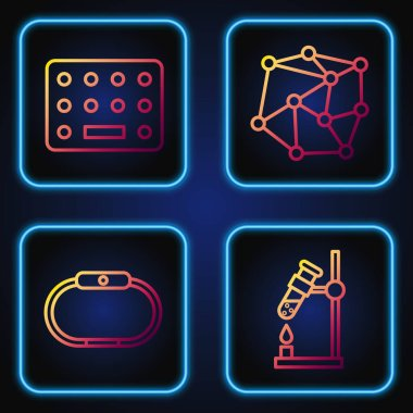 Set line Test tube flask on fire, Smartwatch, Pills in blister pack and Neural network. Gradient color icons. Vector. icon