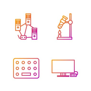 Set line Smart Tv, Pills in blister pack, Computer network and Test tube flask on fire. Gradient color icons. Vector. icon